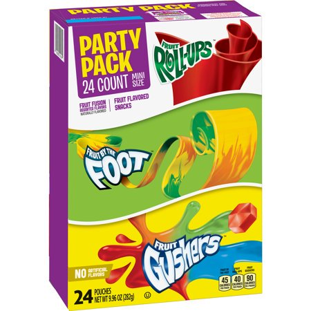 (2 Pack) Fruit Roll-Ups, Fruit By The Foot, Gushers, Mini Size Variety Pack 24