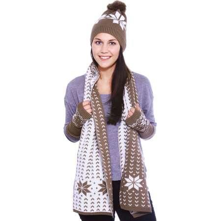 Grow-up Snowflake Knitted Hat Scarf Fingerless Gloves Set, - Columbia Hats Gloves
