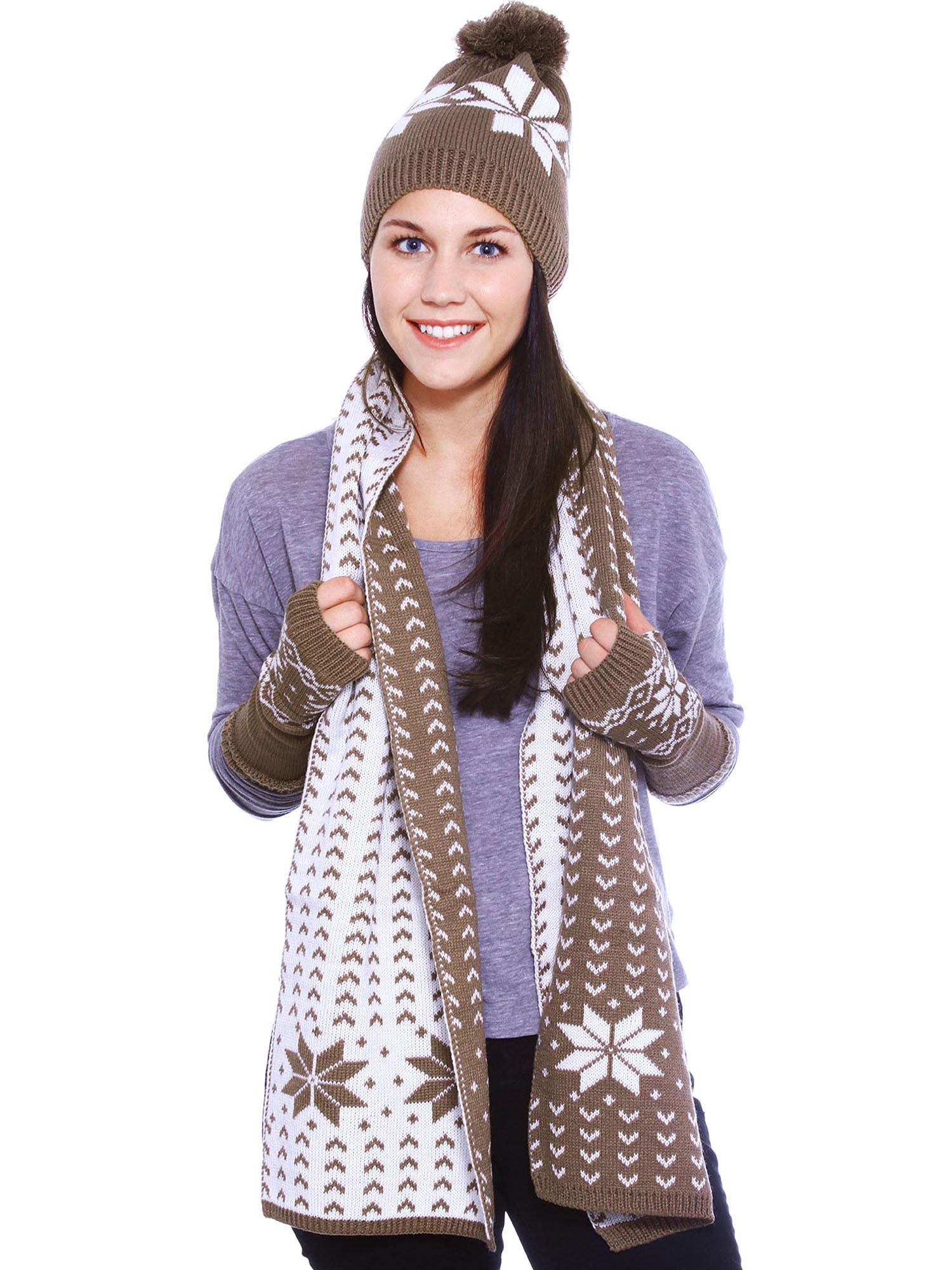 Grow-up Snowflake Knitted Hat Scarf Fingerless Gloves Set, Khaki