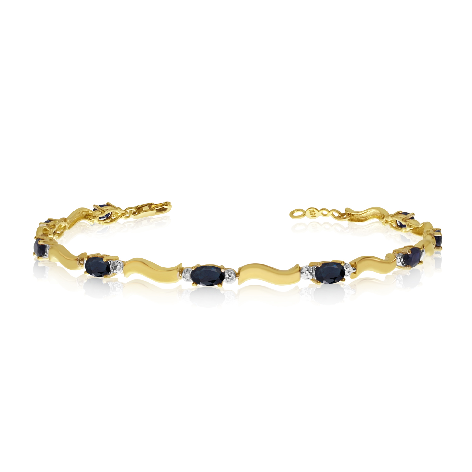 14K Yellow Gold Oval Sapphire and Diamond Bracelet by LCD