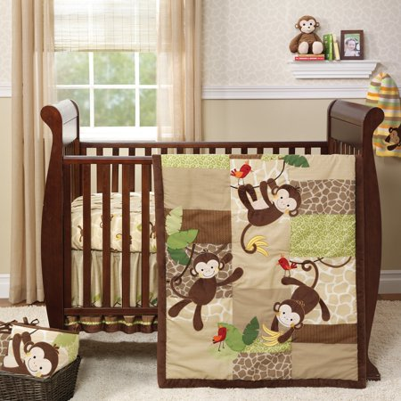 Lambs & Ivy Tickles Brown/Tan/Green Monkey 3-Piece Baby Nursery Crib Bedding Set