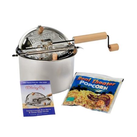 Wabash Valley Farms Stainless Steel Whirley-Pop with Real Theater All-Inclusive Popping Kit