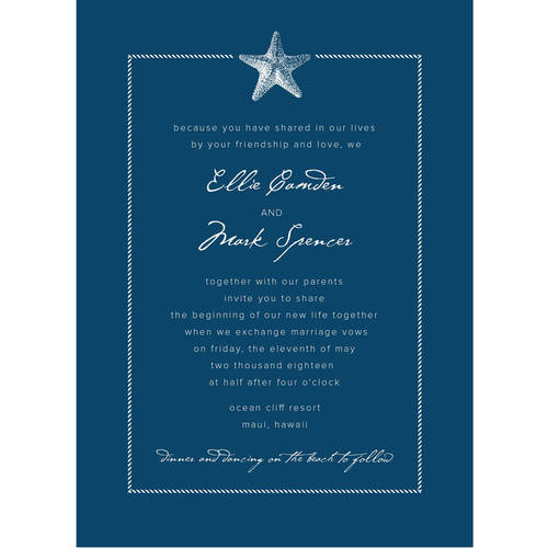 Sophisticated Starfish Standard Wedding Invitation