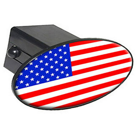 "USA Flag Country - United States 2"" Oval Tow Trailer Hitch Cover Plug Insert"