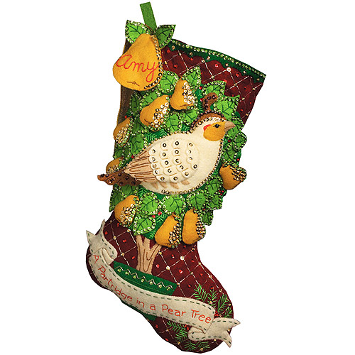 Partridge In A Pear Tree Stocking Felt Applique Kit