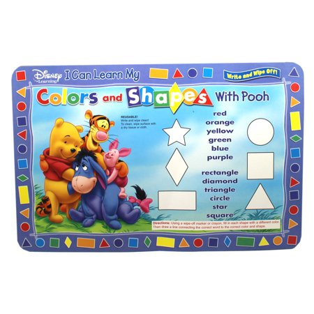 Pooh and Friends Kids Colors and Shapes Dry Erase Sheet