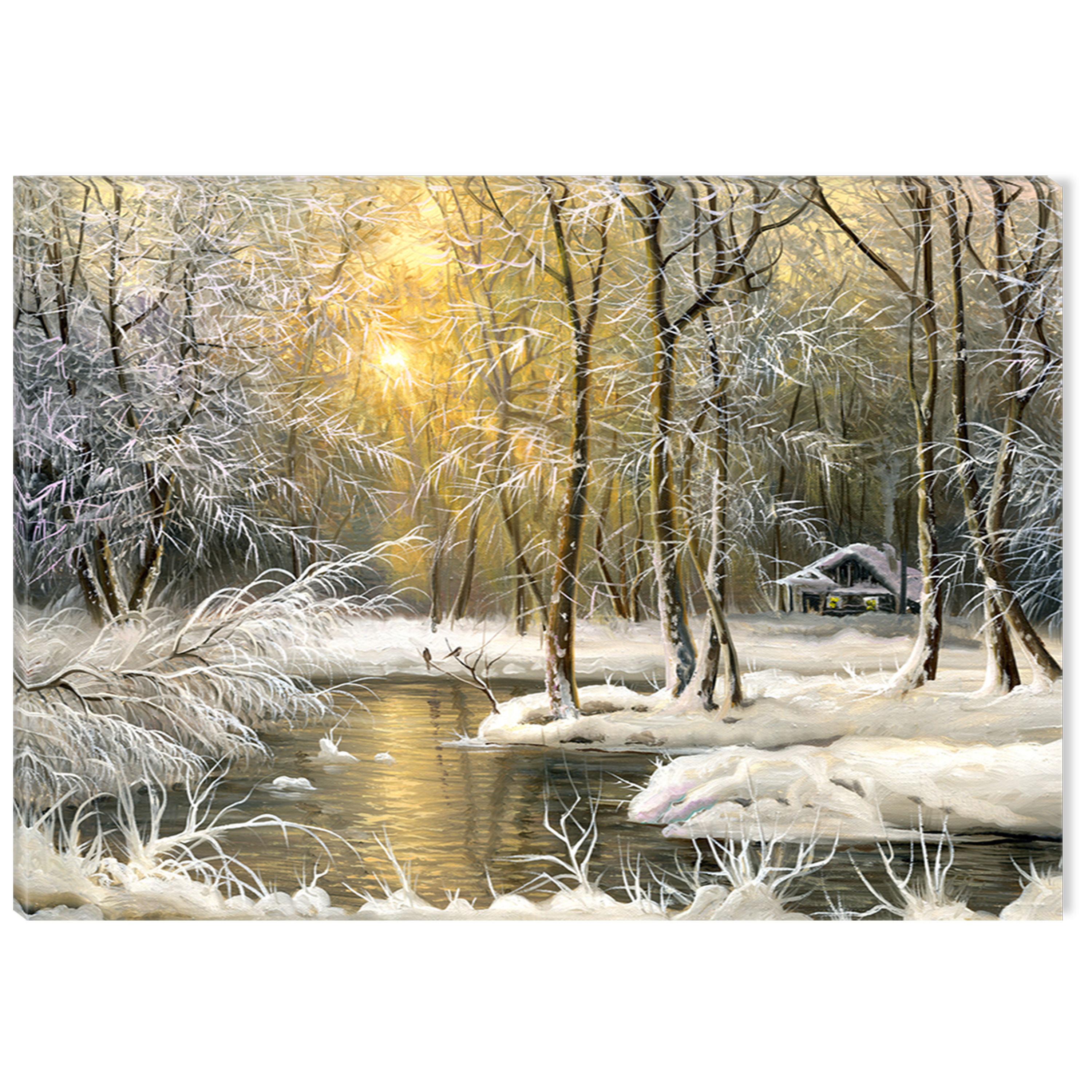 Startonight Canvas Wall Art Winter on the Lake USA Design for Home Decor, Illuminated Landsapes Painting Modern Canvas Artwork Framed Ready to Hang Medium 23.62 X 47.2 inch