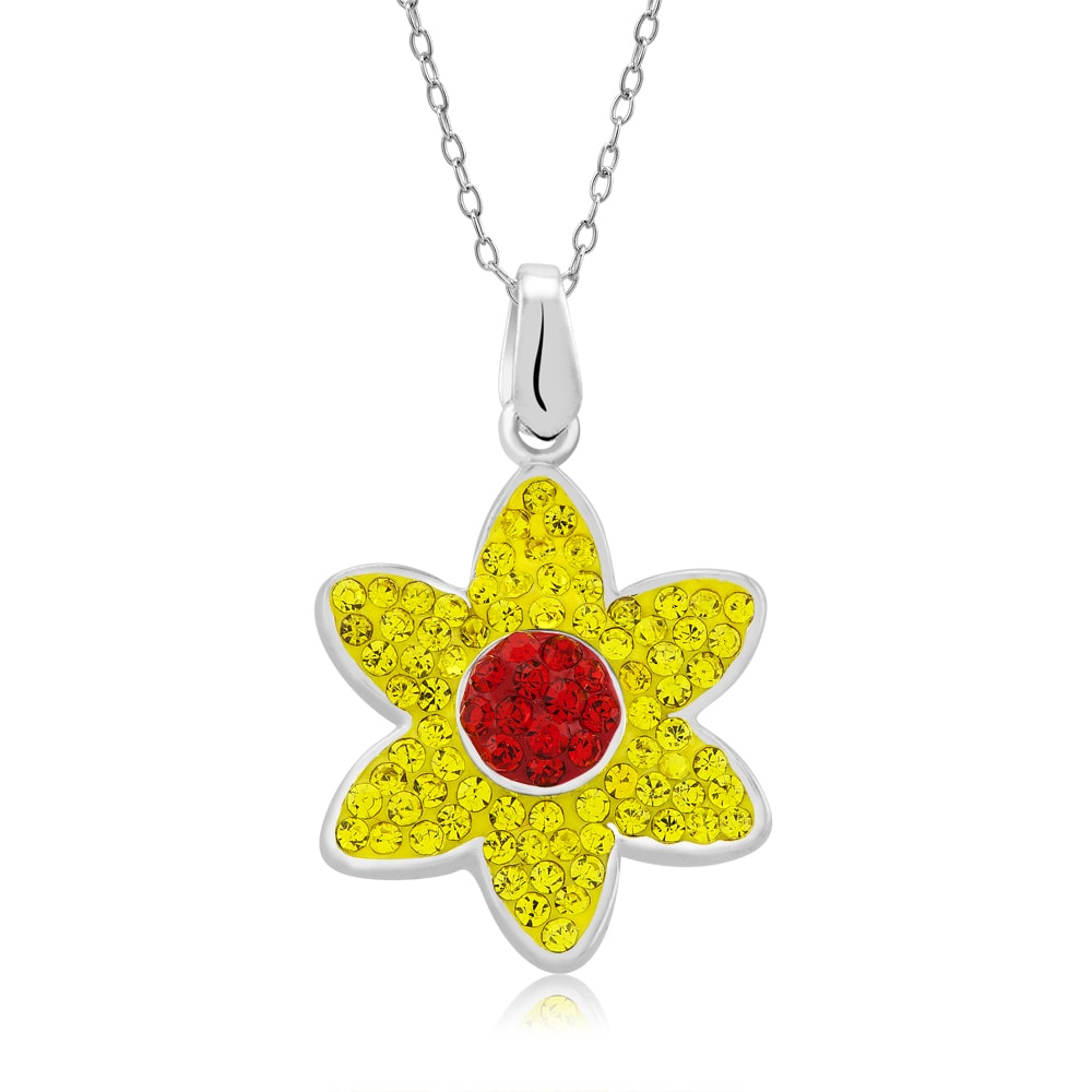 Beverly Hills Silver Platinum-plated Crystal Flower Pendant Necklace