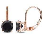 Auriya  1ct to 4ct TDW Solitaire Black Diamond Leverback Earrings 14k Rose Gold