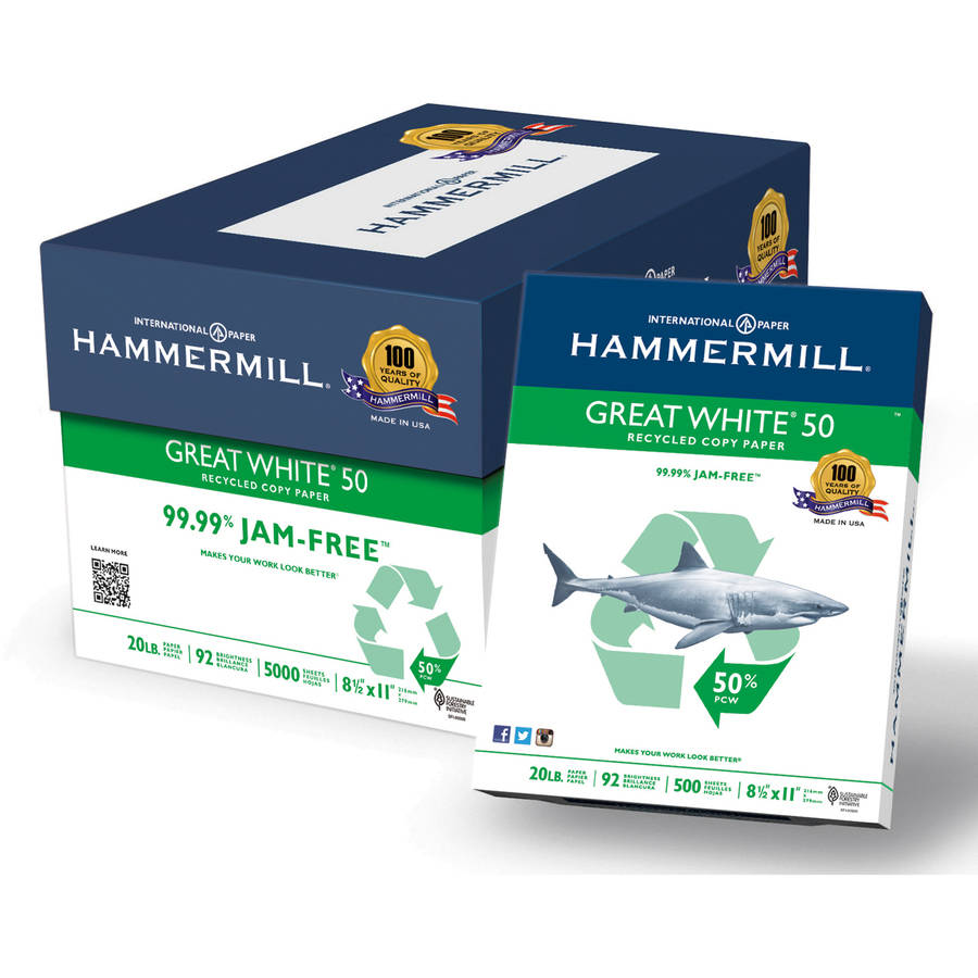 "Hammermill Great White 20-lb Recycled Copy Paper, 8-1/2"" x 11"", White, 5000 Sheets"