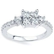 Oliveti Sterling Silver Princess-cut Cubic Zirconia Cluster Ring