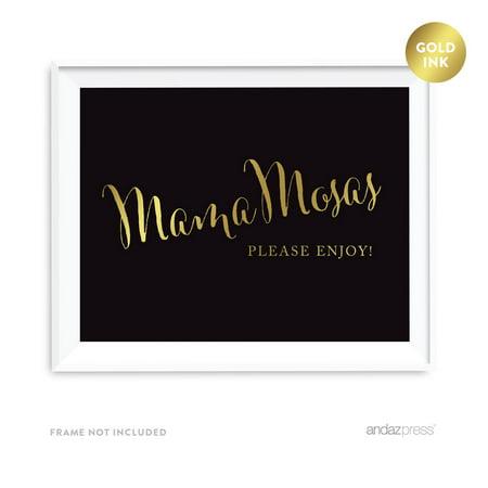 MamaMosas Mimosa Bar Black and Metallic Gold Baby Shower Signs - Diy Mimosa Bar