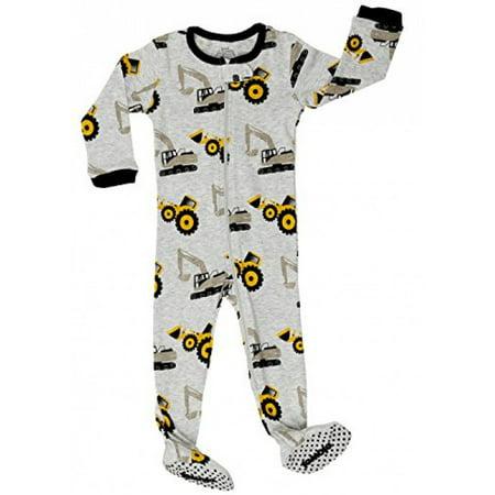 "Elowel Baby Boys footed ""Bulldozer"" pajama sleeper 100% cotton (12-18 Months, Grey)"