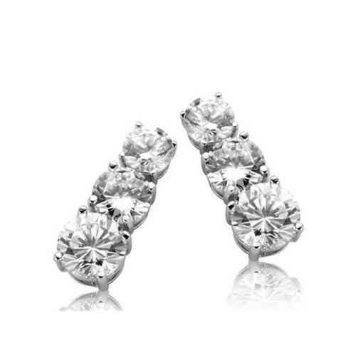CZ EAR311 Past Present Future Graduating C. Z.  Diamond Earrings