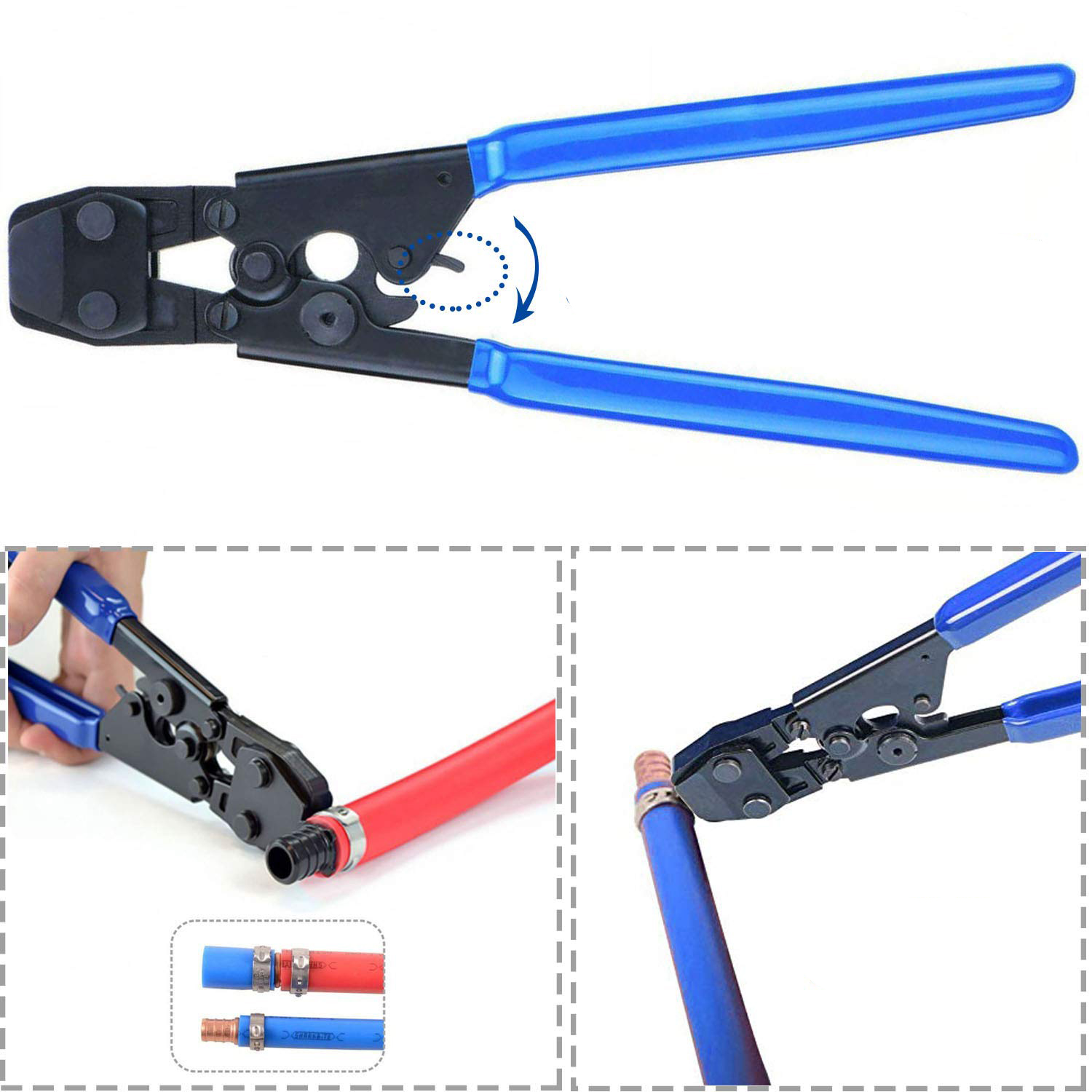 """Zimtown PEX Cinch Clamp Tool, PEX Ratcheting Cinch Crimping Tool Crimper, w/20pcs 1/2"""" and 10 pcs 3/4""""SS PEX Clamps, for Hose Clamps Size 3/8""""1/2"""" 5/8"""" 3/4"""" 1"""", Blue"""