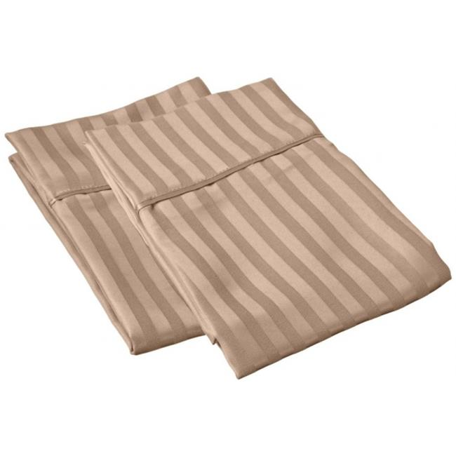 Microfiber Standard Pillowcases Stripe  Taupe - image 1 of 1