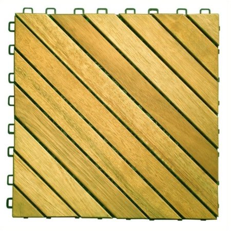 Pemberly Row Premium Plantation Teak Interlocking Deck Tile - 12 Slats Teak Deck Tiles