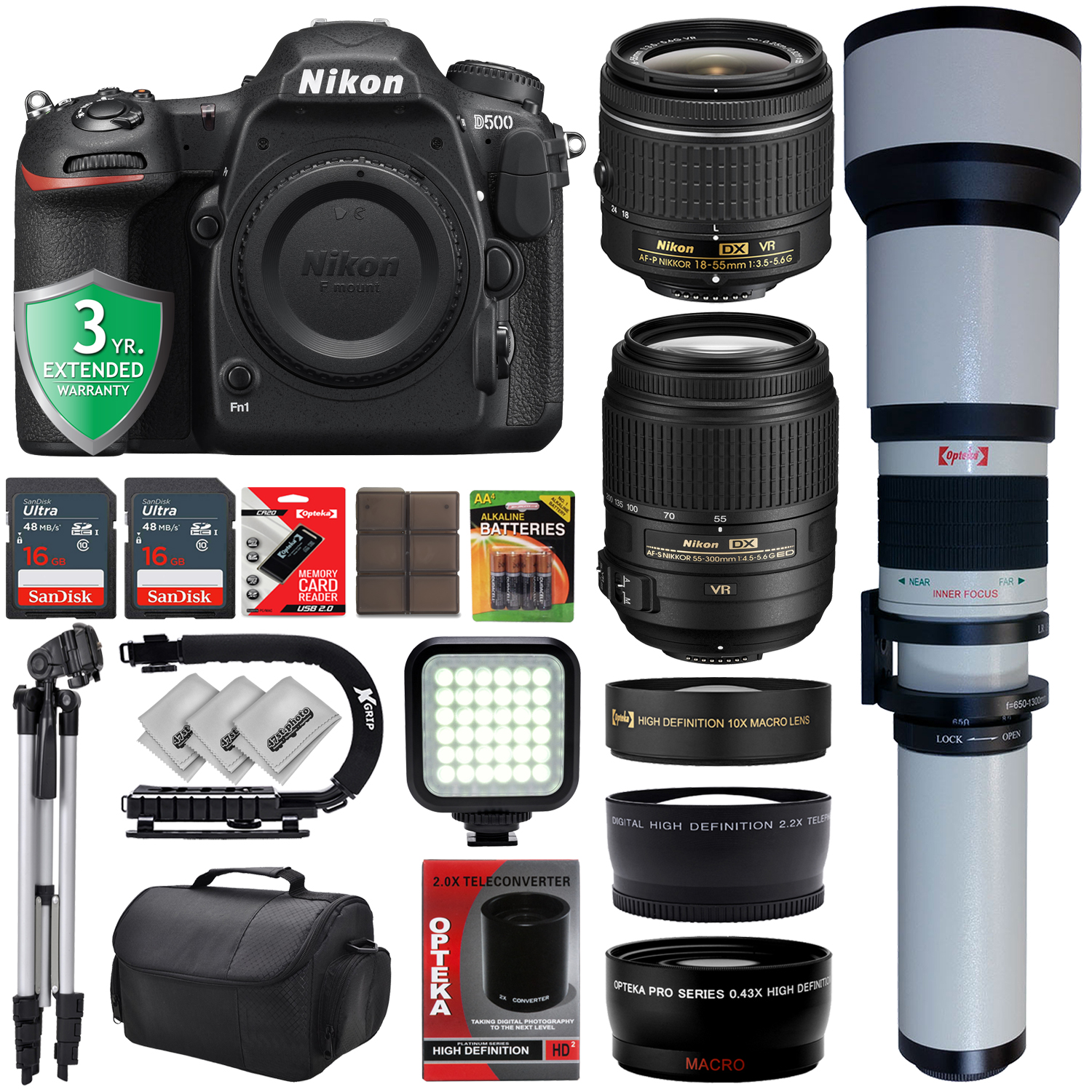 Nikon D500 4K Digital SLR Camera w/ 6 Lens - 18 to 2600mm - 32GB - 35PC Bundle - Nikon AF-P 18-55mm VR Lens - Nikon AF-S 55-300mm VR Lens - Opteka 650-1300mm Zoom - 10x Macro - 0.43x Wide - 2.2x Tele