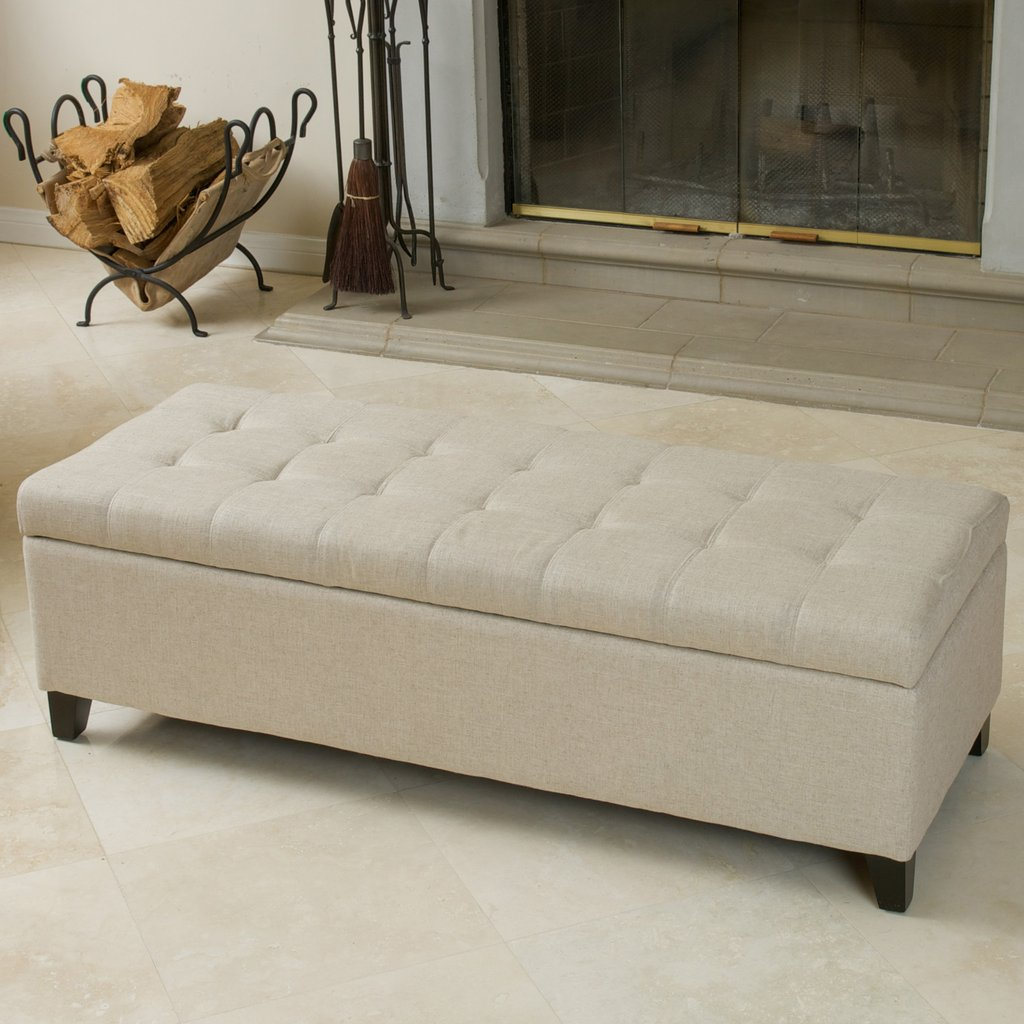 - Munford Beige Tufted Fabric Storage Ottoman Bench - Walmart.com