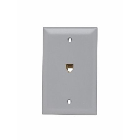 p s gray flush mount rj11 modular 4 wire phone jack 1g wallplate 625b4 tpte1 gry. Black Bedroom Furniture Sets. Home Design Ideas