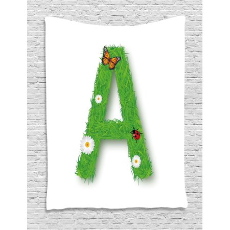 Letter A Tapestry  Fresh My Name Style Capital A With Eco Spring Elements Animal Wings Blooms  Wall Hanging For Bedroom Living Room Dorm Decor  40W X 60L Inches  Green Multicolor  By Ambesonne