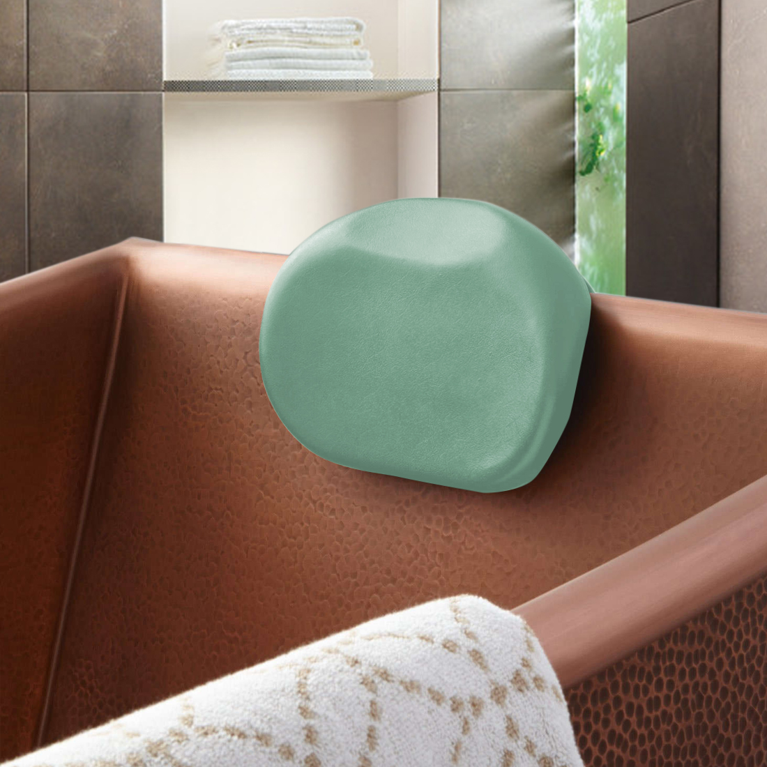 Green Luxury Waterproof Home Spa Bathtub Bath Pillow Heardrest Cushion