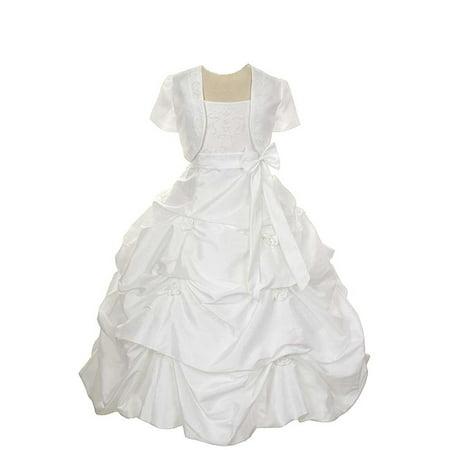 Rain Kids White Flower Pickup Pageant Flower Girl Dress Girls 2T