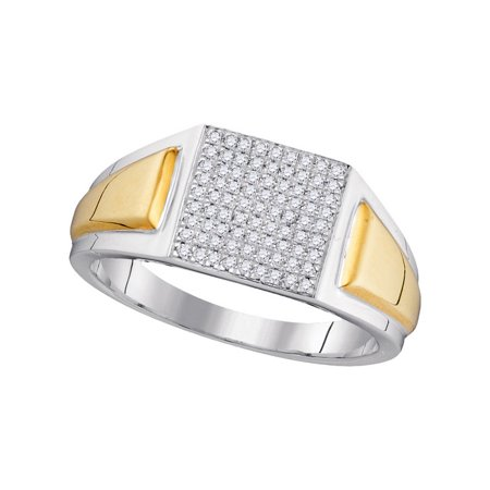 10K White Gold Two Tone 0 26Ctw Diamond Fashion Center Square Micro Pave Ring