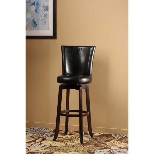 "Hillsdale Furniture Copenhagen 39"" Swivel Counter Stool, Walnut Finish, Black PU Seat and Back"
