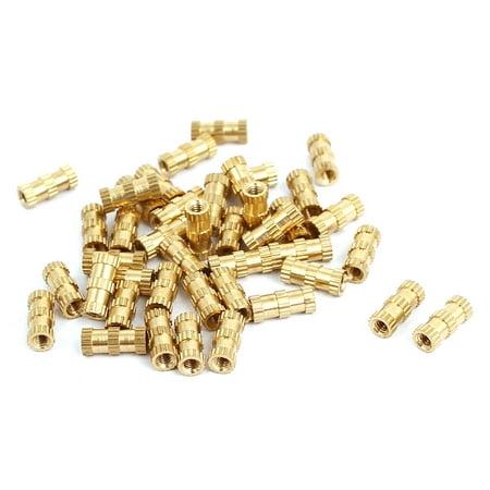 M2x8mmx3.5mm Brass Knurled Threaded Nut Insert Embedded Nuts Gold Tone 40pcs ()