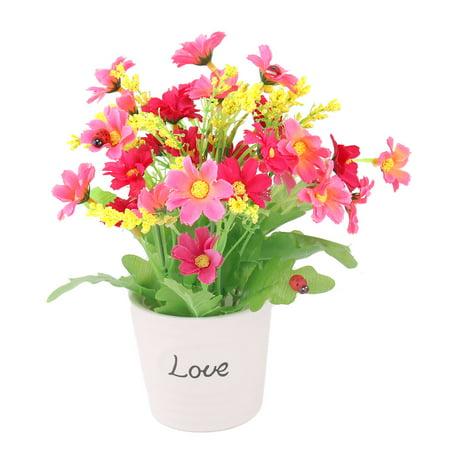 Ceramic Flowerpot Table Shelf Decorative Artificial Flower Fuchsia Pink - Ceramic Flower