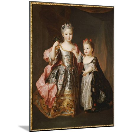 Portrait of Two Young Girls, Said to Be Adelaide and Victoire, Daughters of Louis Xv Wood Mounted Print Wall Art By Alexis Simon (Belle Wall Mount Filler)