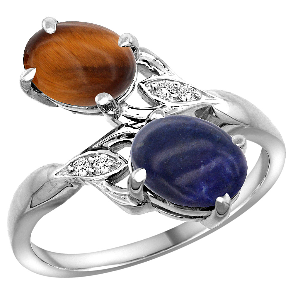 14k White Gold Diamond Natural Tiger Eye & Lapis 2-stone Ring Oval 8x6mm, sizes 5 - 10