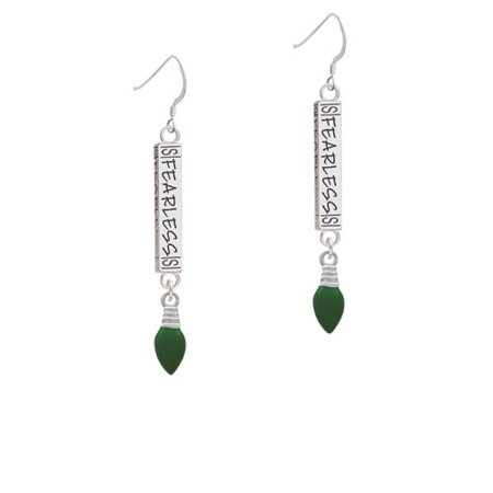 Green Christmas Light  Fearless Bar French Earring