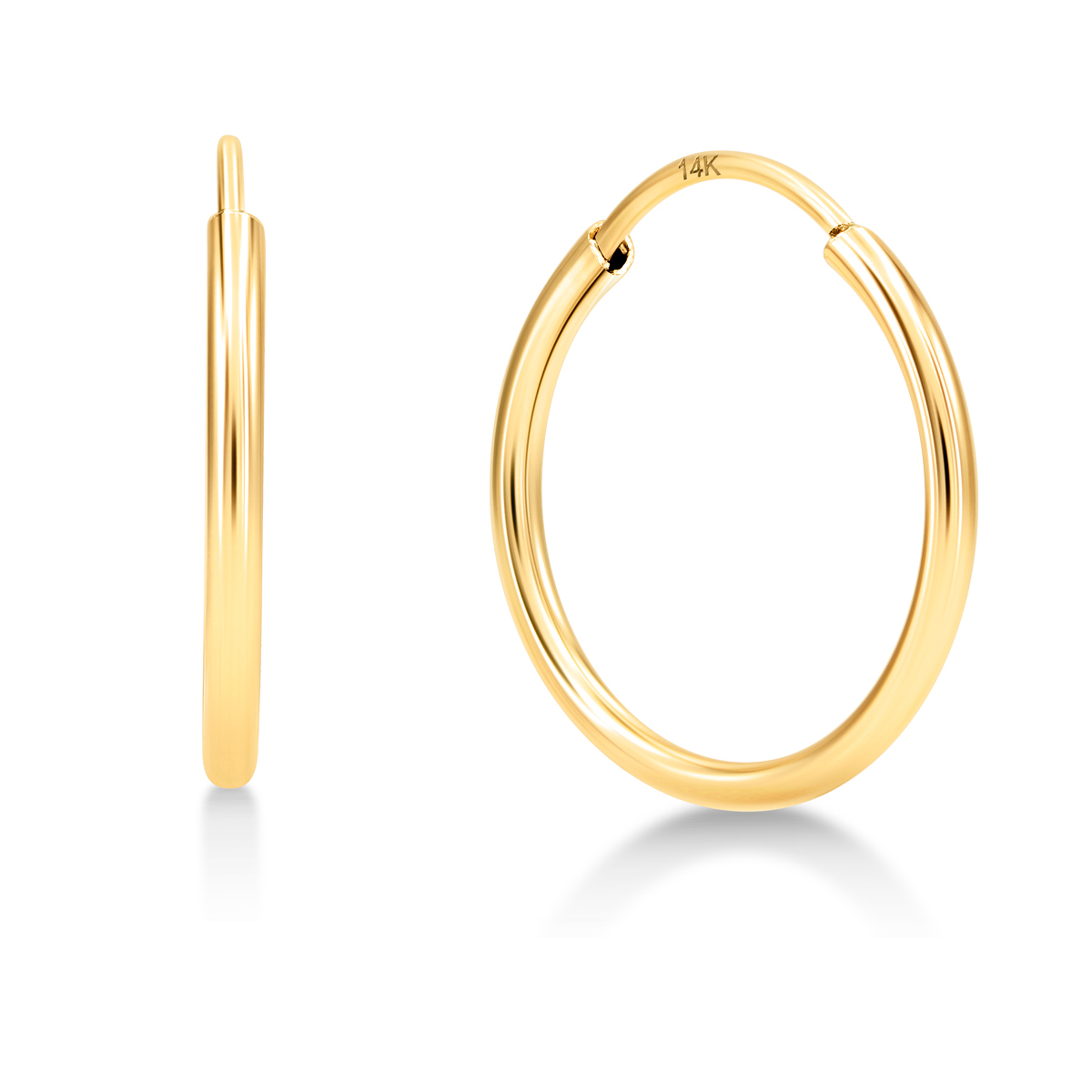 14k Yellow Gold Small Thin Endless Hoop Earrings for Girls