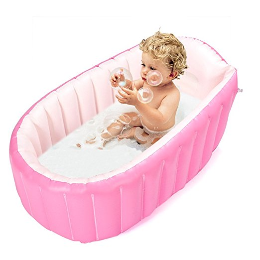 Inflatable Baby Bathtub, Kid Infant Toddler Infant Newborn Inflatable Foldable Shower Pool (pink)