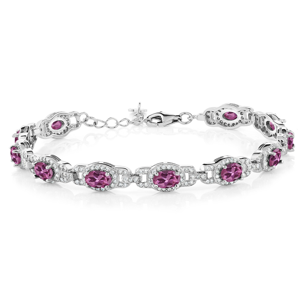7.78 Ct Oval Pink Tourmaline AAA 925 Sterling Silver Bracelet by