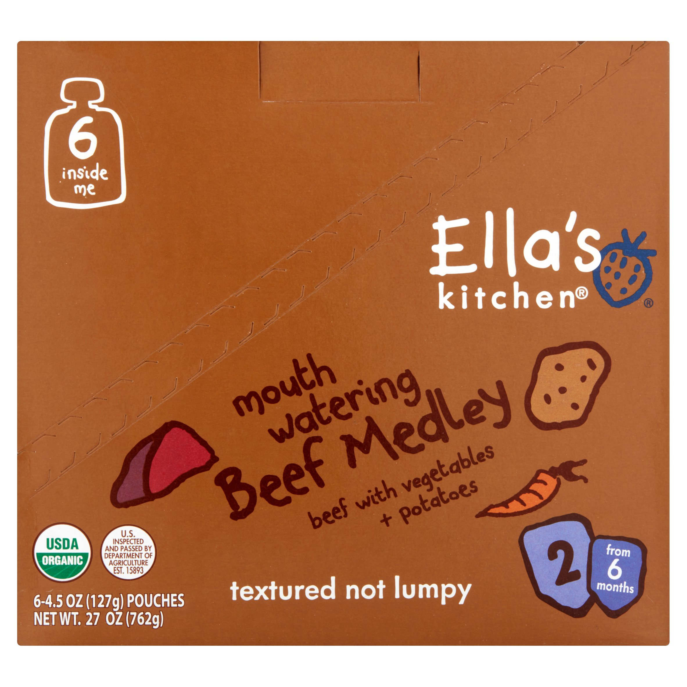 Ella's Kitchen Organic Baby Food Mouth Watering Beef Medley Baby Food Stage 2 from 6 Months, 4.5 oz, 6 Pack