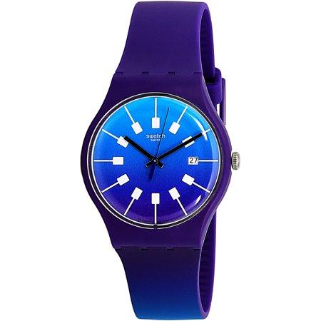 Swatch Men's Crazy Sky SUOV400 Purple Rubber Swiss Quartz Fashion Watch