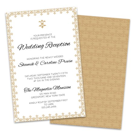 Gold Border Personalized Wedding Reception - Gold Wedding Invitations