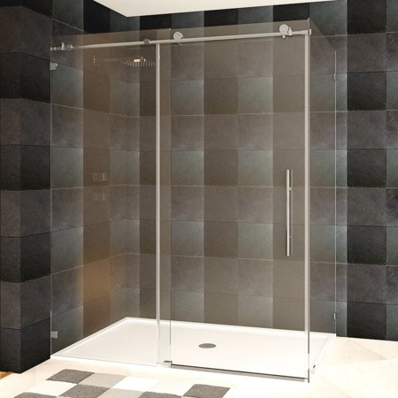 LessCare  48 or 60 x 76 x 34.5-inch Frameless Chrome/ Brushed Nickel Finish Clear Glass Shower