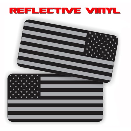 """AMERICAN FLAG (REFLECTIVE) Military SUBDUED FLAGS (2 PACK - 1-LEFT, 1 RIGHT) Vinyl Hard Hat Helmet decal - size: 2"""" X 1"""" - REFLECTIVE Hard Hat, Helmet, Windows, Walls, Bumpers, Laptop, Lockers, etc."""