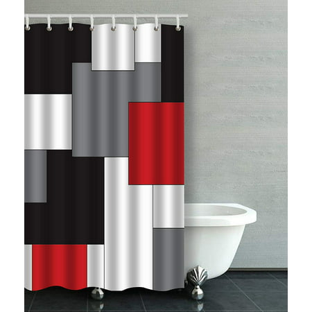 ARTJIA Wavy Vertical Stripes Red Black White And Grey Bathroom Shower Curtain 48x72 inches ()