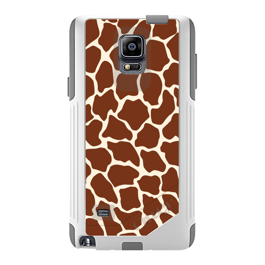DistinctInk™ Custom White OtterBox Commuter Series Case for Samsung Galaxy Note 4 - Brown Tan Beige Giraffe Skin Spots