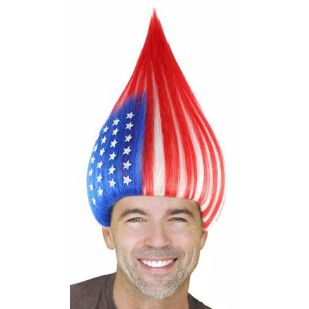 American National Flag Trolls Wig for Cosplay Costume Party Halloween for Men Women (Best Halloween Party Schools In America)