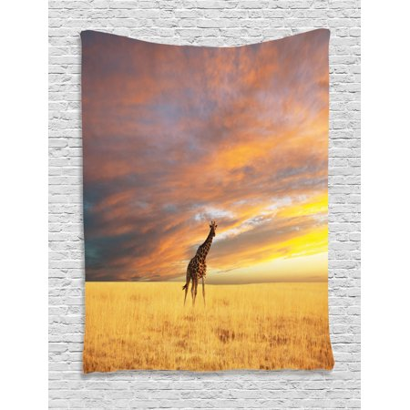 Giraffe Tapestry Animal In Savannah Under Clouds At Sunset African Wildlife Themed Safari Wall Hanging For Bedroom Living Room Dorm Decor Yellow