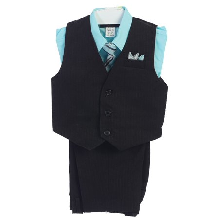 Angel Dress For Boys (Angels Garment Little Boys Aqua 4 Piece Pin Striped Vest Set Suit)