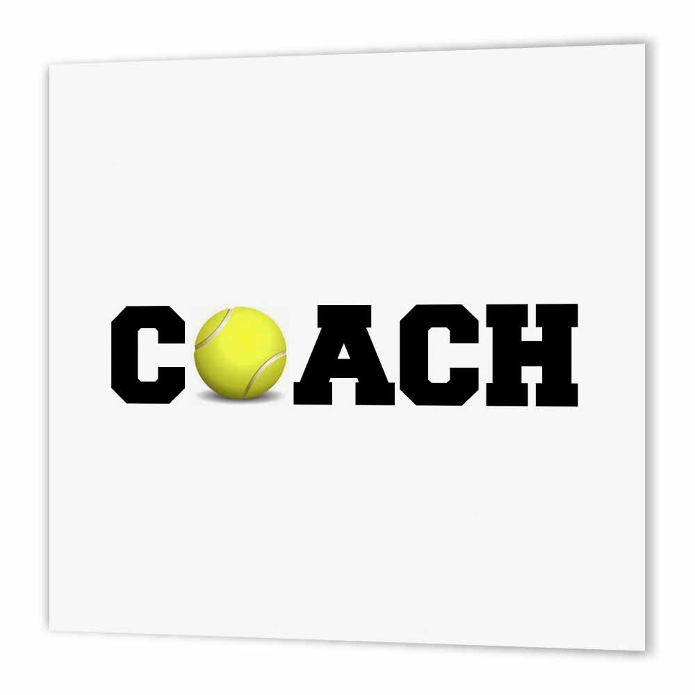 3dRose coach, black letters with tennis ball on white background, Iron On Heat Transfer, 10 by 10-inch, For White Material