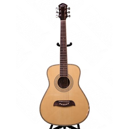Oscar Schmidt LEFT HAND 1/2 Size Acoustic Guitar, Select Spruce, Natural,