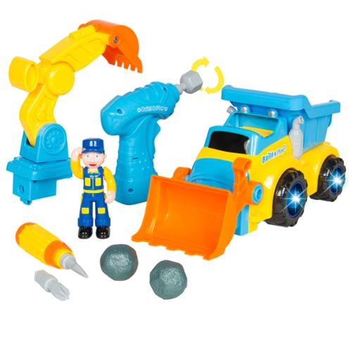 Toy Electric Construction Bulldozer Excavator Truck With Tools, Lights and Music